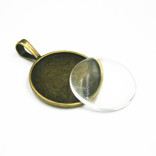 1pce x 25mm Make your own pendant kit - round