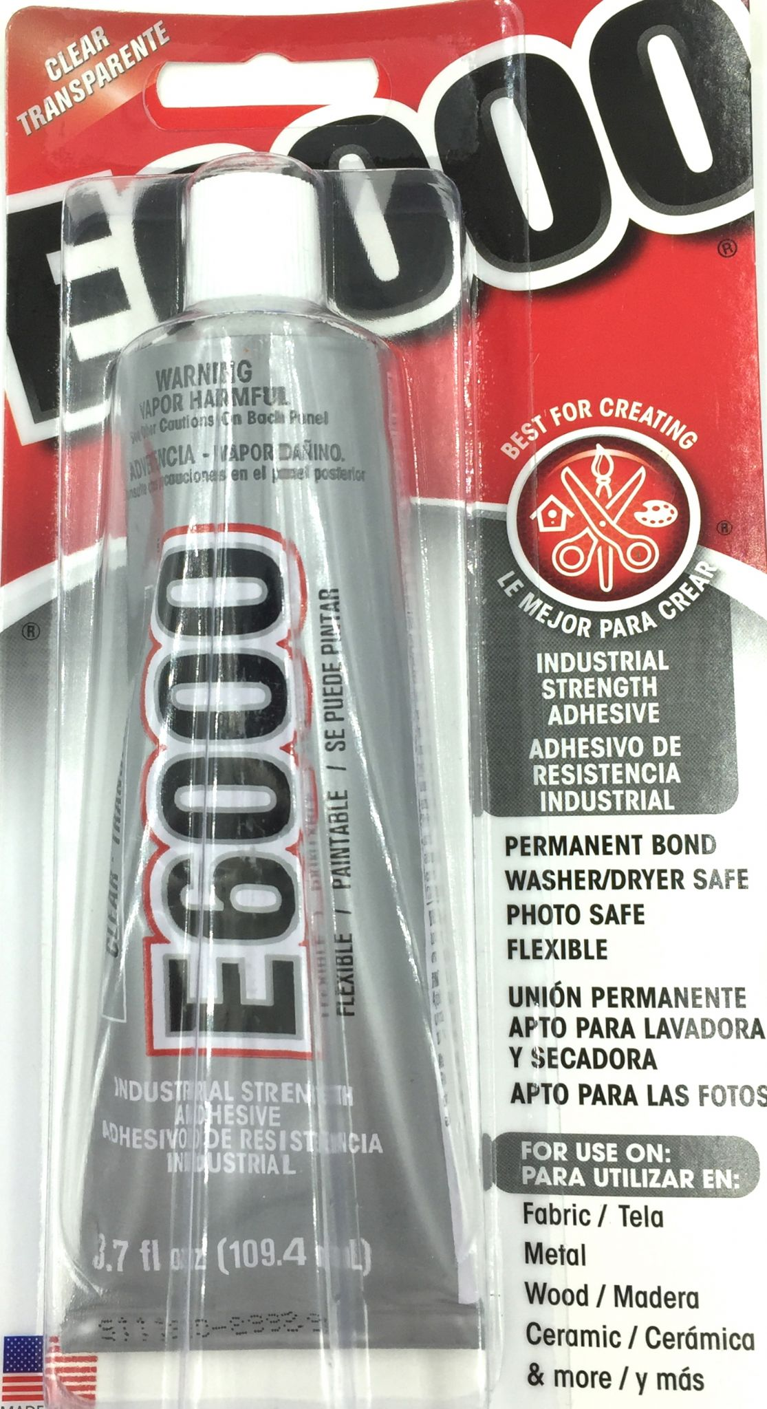 E6000 Jewellery & Craft Glue - Industrial strength - United States - 3.7 fl oz 109.4ml