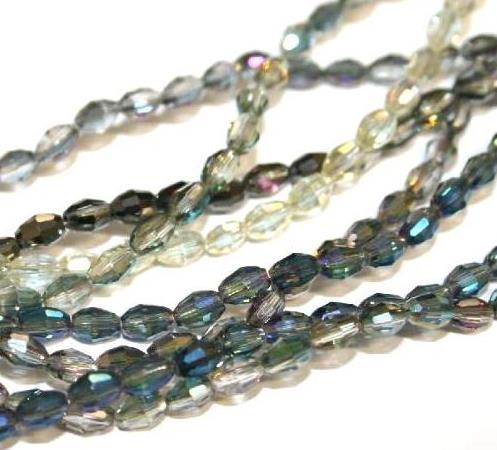 5mm x 4mm Faceted rice shape glass beads