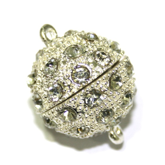 1 x 20mm Round Magnet Clasps Silver Plated with Rhinestone - S.FC01