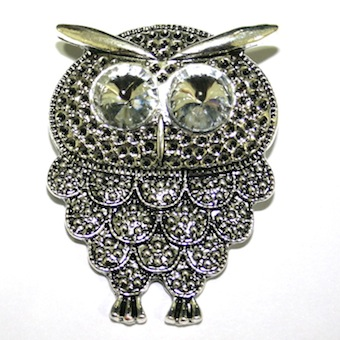 1 x Antique Silver Owl Pendant with Clear Eyes 53mm - S.F03 - WA204 - 1411122