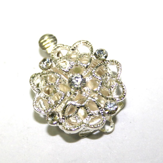 1 x Silver Plated Clip Clasp with Rhinestone 20mm - S.FC01