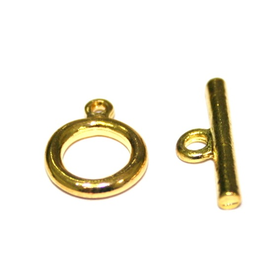 10 x Gold Plated Round Toggle Clasps 9mm ring - 1057236