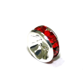100 x 8mm Silver Plated Rhinestone Straight Sided Rondelle Spacer with Red Crystals --2503006