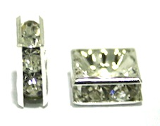 100pcs x 6mm Silver plated square rhinestone spacer bead with clear stones-10450240-S.D05