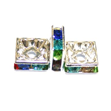 100pcs x 8mm Silver plated square rhinestone spacer bead with colourful stones S.D05 -- 5000035