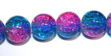 106pcs x 8mm Blue / pink glass crackled beads -- 3005085