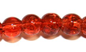 106pcs x 8mm Brown-red glass crackled beads -- 3005036