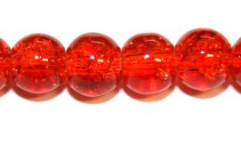 106pcs x 8mm Orange-red glass crackled beads -- 3005034