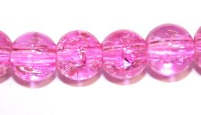 106pcs x 8mm Pink glass crackled beads -- 3005038