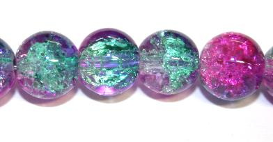 106pcs x 8mm Pink / green glass crackled beads -- 3005083
