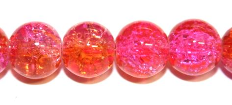 106pcs x 8mm Pink / orange glass crackled beads -- 3005084