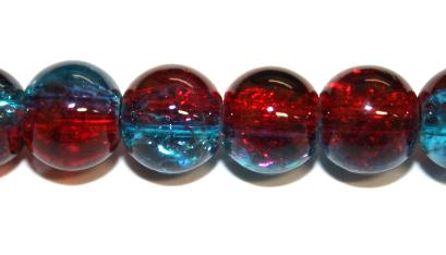 106pcs x 8mm Red / blue glass crackled beads -- 3005082
