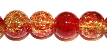 106pcs x 8mm Red / yellow glass crackled beads -- 3005089