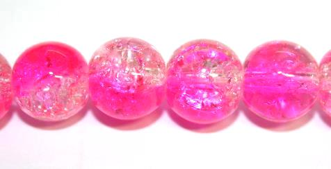 106pcs x 8mm Shocking pink / clear glass crackled beads -- 3005087