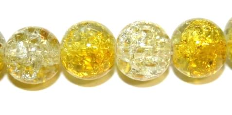 106pcs x 8mm Yellow / clear glass crackled beads -- 3005091