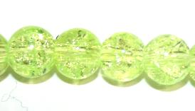 106pcs x 8mm Yellow glass crackled beads -- 3005023