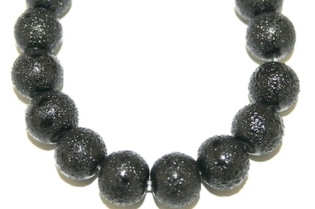10mm Black Glass Blister Moon Pearls- 90 pces