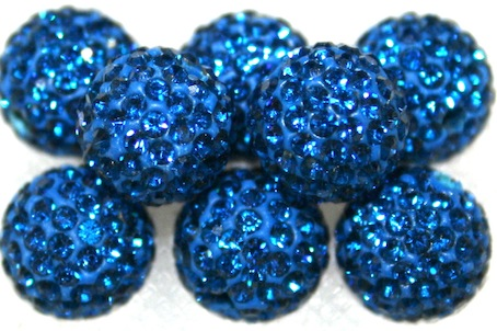 10mm Blue 115 Stone  Pave Crystal Beads- 2 Hole PCB10-115-026