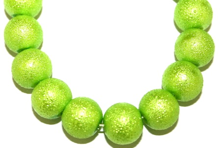 10mm Bright Green Glass Blister Moon Pearls- 90 pces
