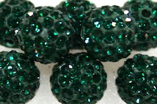 10mm Dark Green 115 Stone Pave Crystal Beads- Half Drilled PCBHD10-115-028