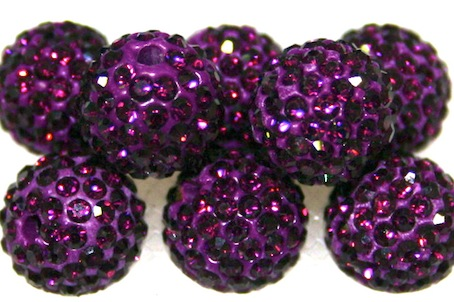 10mm Deep Purple 115 Stone  Pave Crystal Beads- 2 Hole PCB10-115-030