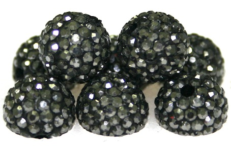 10mm Hematite 115 Stone Pave Crystal Beads- 2 Hole PCB10-115-002