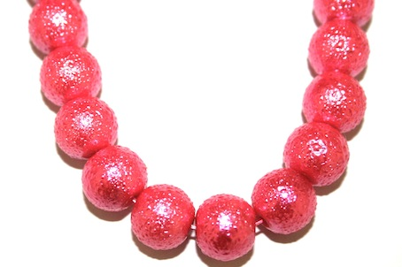 10mm Hot Pink Glass Blister Moon Pearls- 90 pces