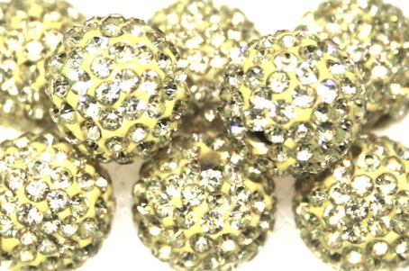 10mm Lemon 115 Stone  Pave Crystal Beads- 2 Hole PCB10-115-022