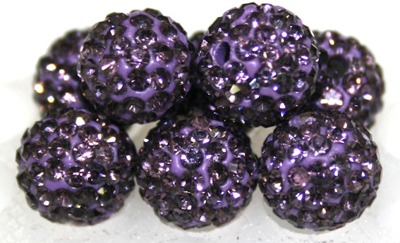 10mm Light Purple 115 Stone  Pave Crystal Beads- 2 Hole PCB10-115-014