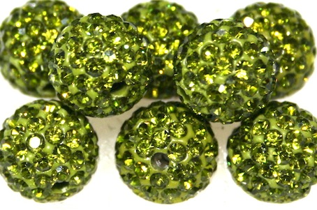 10mm Olive Green 115 Stone Pave Crystal Beads- 2 Hole PCB10-115-019