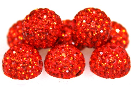 10mm Orange 115 Stone - Pave Crystal Beads- 2 Hole PCB10-115-018