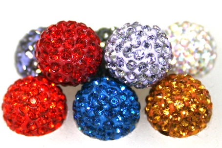 10mm Pave Crystal Beads- 115 Stones- 2 Hole