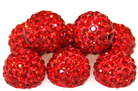 10mm Red 115 Stone  Pave Crystal Beads- 2 Hole PCB10-115-009
