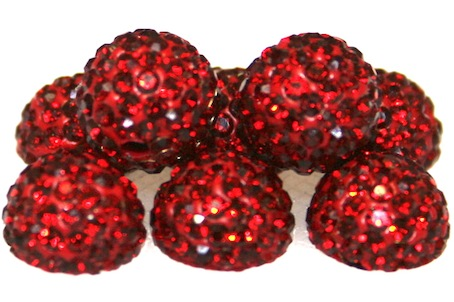 10mm Ruby Red 115 Stone  Pave Crystal Beads- 2 Hole PCB10-115-023