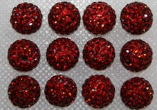 10mm Ruby Red 115 Stone Pave Crystal Beads- Half Drilled PCBHD10-115-023