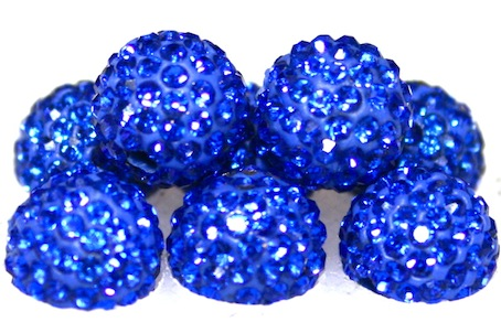 10mm Sapphire Blue 115 Stone  Pave Crystal Beads- 2 Hole PCB10-115-010
