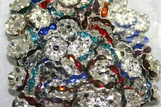 10mm Silver plated rhinestone rondelle Spacers mix colour crystals