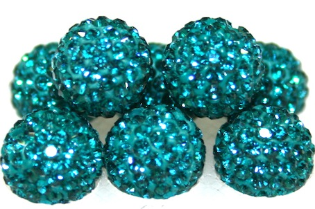 10mm Teal 115 Stone - Pave Crystal Beads- 2 Hole PCB10-115-008