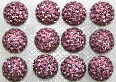 10mm Violet 115 Stone Pave Crystal Beads- Half Drilled PCBHD10-115-029