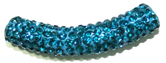 10mm x 45mm 198 St - Pave Crystal Spacer Tube - Blue 1045020 - SM03