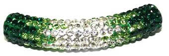 10mm x 45mm 198 St - Pave Crystal Spacer Tube - Green -Clear - 1045003 - SM03