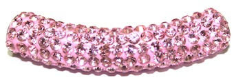 10mm x 45mm 198 St - Pave Crystal Spacer Tube - Pink 1045017 - SM03