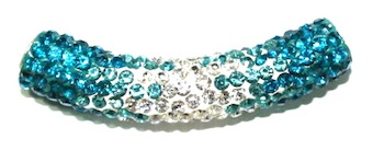10mm x 45mm 198 St - Pave Crystal Spacer Tube - Turquoise -Clear - 1045008 - SM03