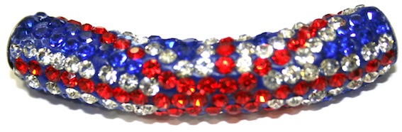 10mm x 45mm 198 St - Pave Crystal Spacer Tube - Union Jack / Union Flag - 1045009 - SM03