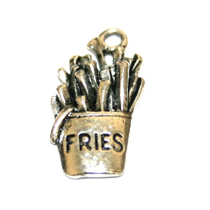 10pcs x 20mm Antique silver plated fries charm  - S.F03 - WA180 - 1411053