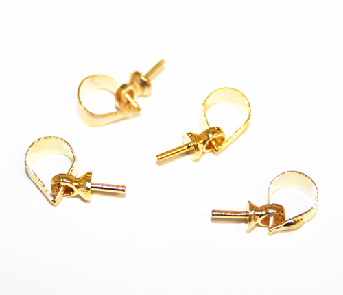 10pcs x gold glue on bead attachment with bail - C7003051
