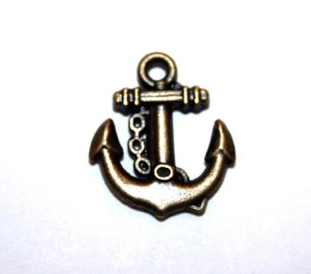 12 Pces x Antique Brass Anchor Alloy Charm #ACH006 Size 19MM X 16MM