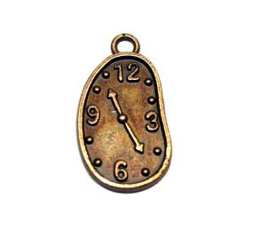 12 Pces x Antique Brass Clock Alloy Charm #ACH001 Size 22MM X 11MM