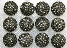 12mm Charcoal Grey 130 Stone Pave Crystal Beads- 2 Hole PCB12-130-061